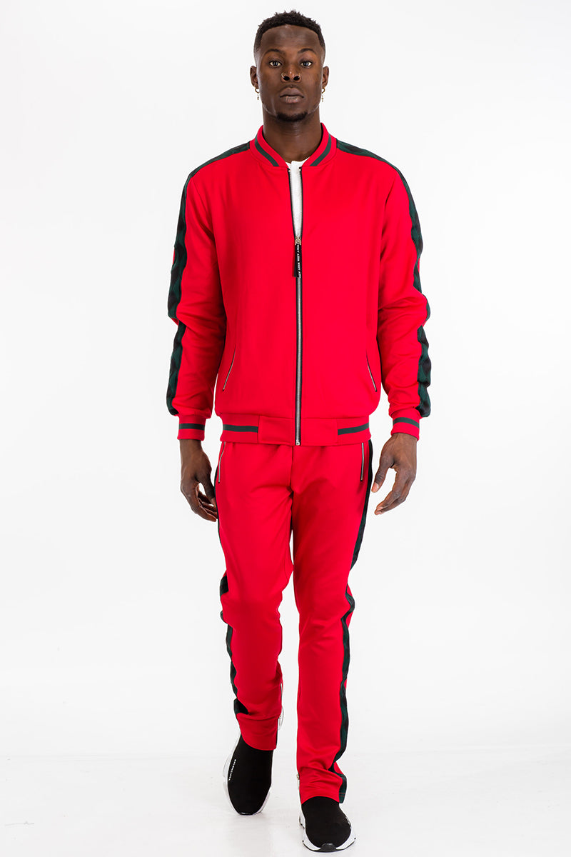 DIAMOND TAPE TRACK PANTS- RED