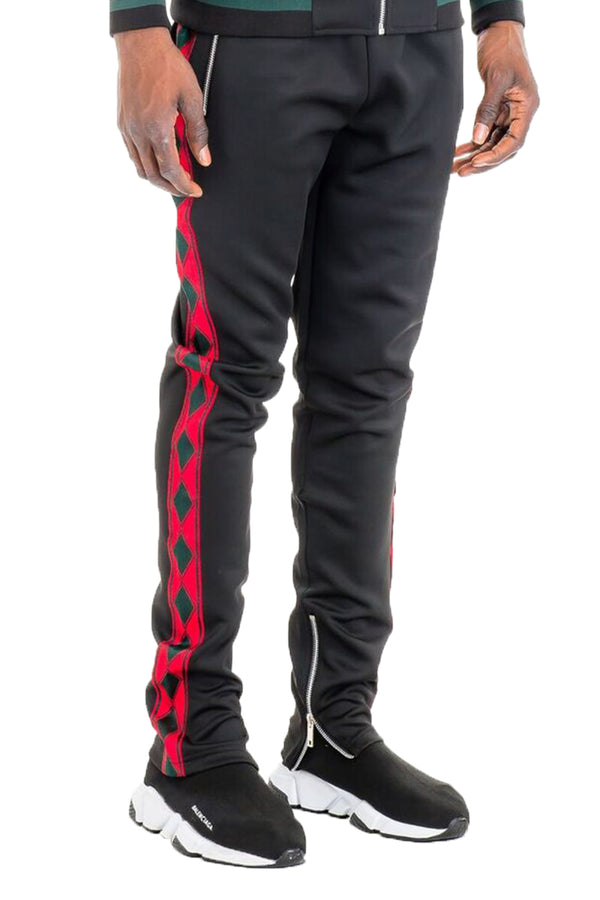 DIAMOND TAPE TRACK PANTS- BLACK