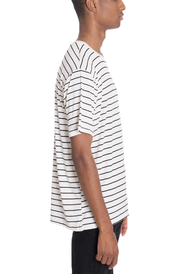COT'N STRIPED TEE- WHITE