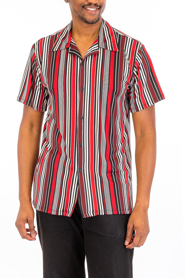 Vertical Print Button Down Shirt-RED