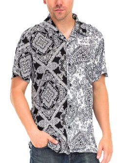 TWO TONE PAISLEY PRINT BUTTON DOWN SHIRT- BLACK