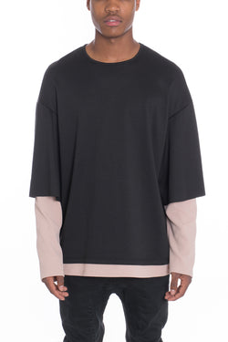 DOUBLE SLOUCH TEE- BLACK