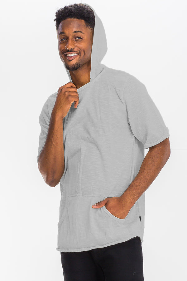 TERRY SHORT SLEEVE HOODED SHIRT
