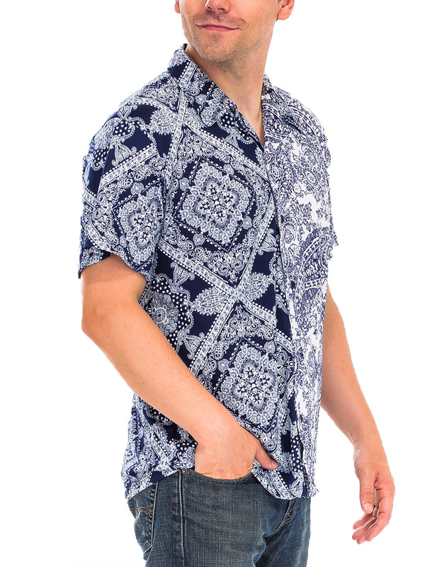 TWO TONE PAISLEY PRINT BUTTON DOWN SHIRT- NAVY