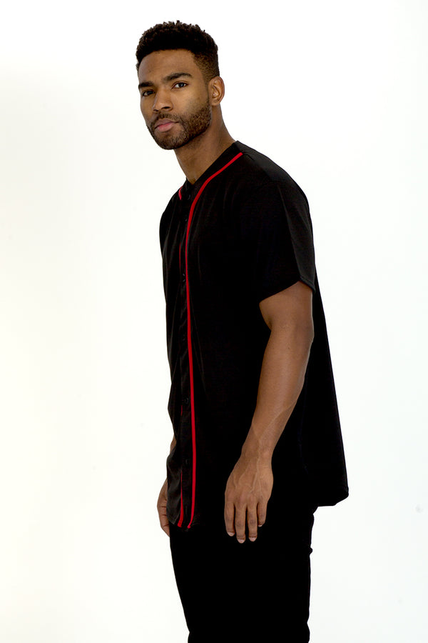 BASEBALL JERSEY- BLACK /RED