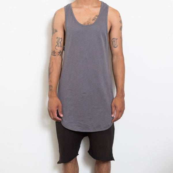 Gray Scoop Extended Tank Top