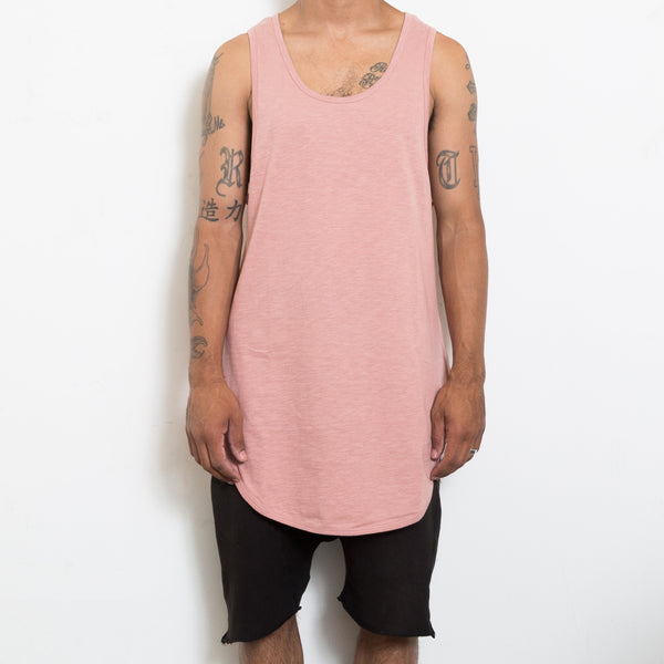 Dark Pink Scoop Longline Tank Top