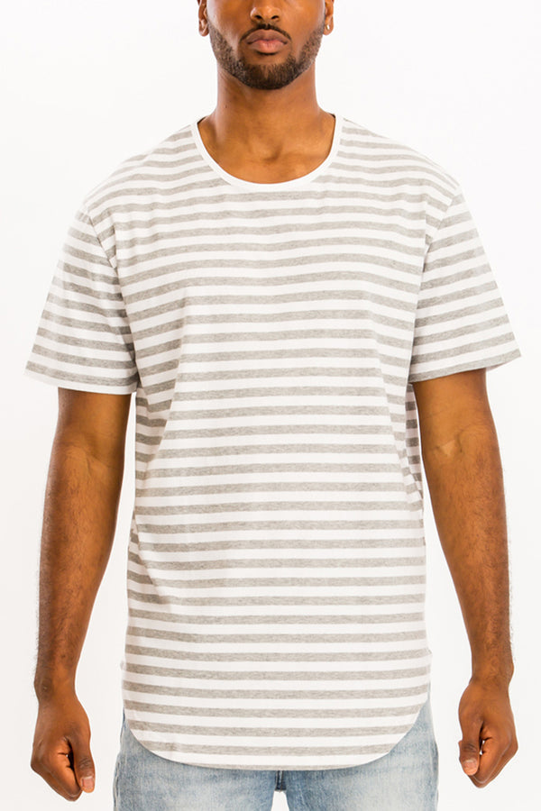 BASIC STRIPED TEE- WHITE/GREY