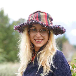 Hemp Patchwork Fringe Hat - The Outpost NZ