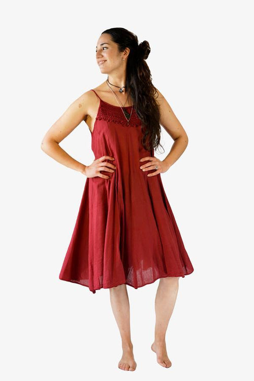 Abigail Dress-CLOTHING / DRESS-Porchongcharoengarment (THA)-Maroon-The Outpost NZ