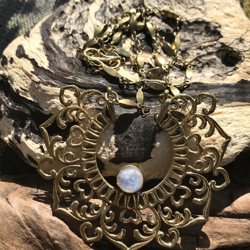 Agilaz Brass Necklace-JEWELLERY / NECKLACE & PENDANT-Gopal Brass Man (IND)-Moonstone-The Outpost NZ