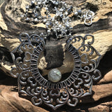 Agilaz Silver Plated Necklace-JEWELLERY / NECKLACE & PENDANT-Gopal Brass Man (IND)-Labradorite-The Outpost NZ