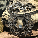 Agilaz Silver Plated Necklace-JEWELLERY / NECKLACE & PENDANT-Gopal Brass Man (IND)-Moonstone-The Outpost NZ