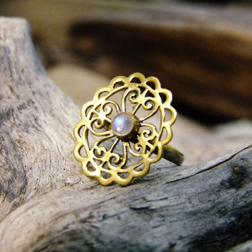 Alvia Stone Brass Ring-JEWELLERY / RINGS-Gopal Brass Man (IND)-Moonstone-The Outpost NZ
