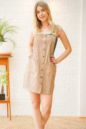 Lucy Cotton Mini Overall Dress - The Outpost NZ