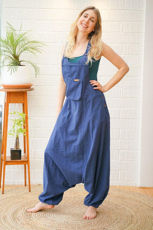 Katara Loose Fit Plain Cotton Dungarees - The Outpost NZ