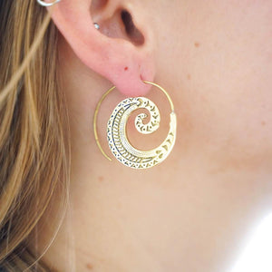 Atlantis Brass Earring-JEWELLERY / EARRINGS-Gopal Brass Man (IND)-The Outpost NZ