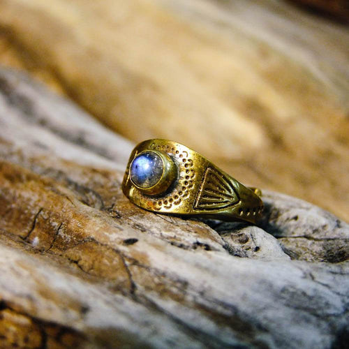 Aztec Brass Ring-JEWELLERY / RINGS-Gopal Brass Man (IND)-Labradorite-The Outpost NZ