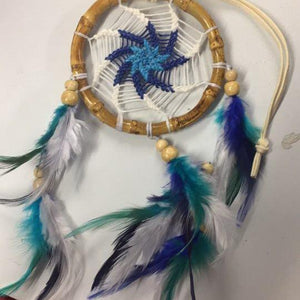 Bamboo Dreamcatchers-HOMEWARES-Chart (THA)-Cotton-30 cm-White/Blue-The Outpost NZ