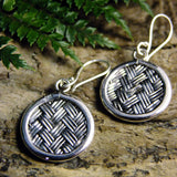 Basket Weave Drop Silver Earrings-JEWELLERY / EARRINGS-Jewelery Center (THA)-Large Circle-The Outpost NZ