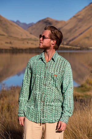 Beaumont Block Print Long Sleeve Cotton Shirts-CLOTHING / SHIRTS-Holi Fashion (IND)-Turquoise-M-The Outpost NZ[Mens]