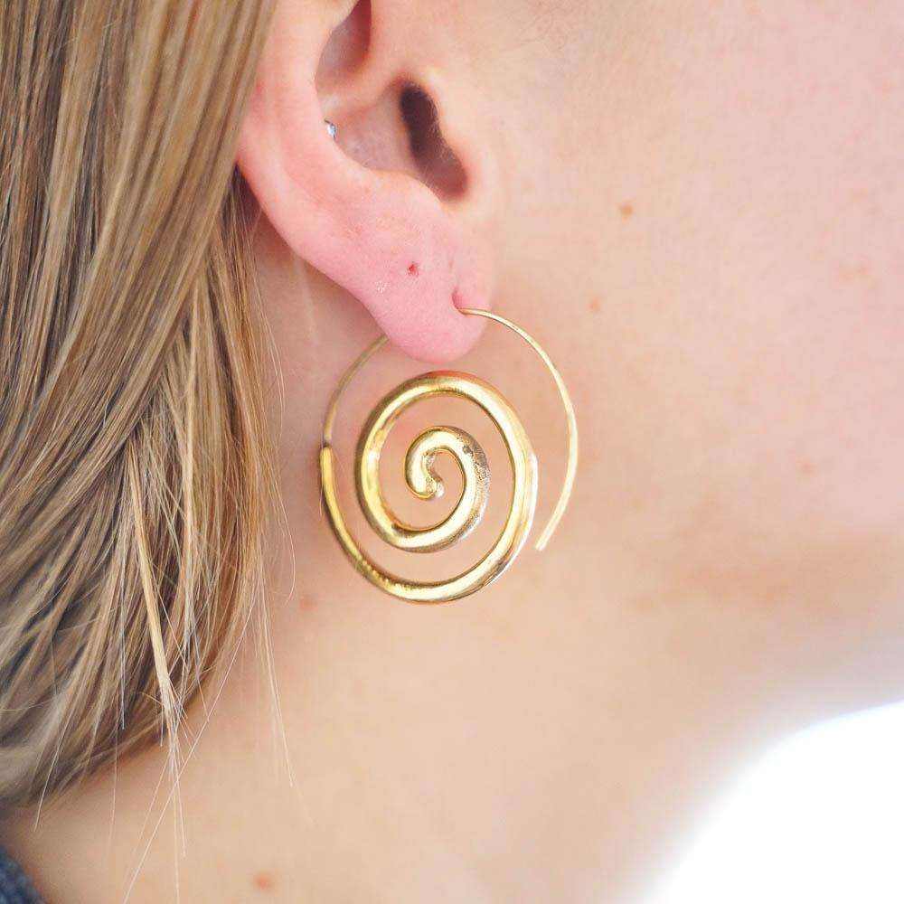 Bedelia Brass Earrings-JEWELLERY / EARRINGS-Gopal Brass Man (IND)-The Outpost NZ