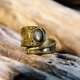 Bidita Stone Brass Ring-JEWELLERY / RINGS-Gopal Brass Man (IND)-Labradorite-The Outpost NZ