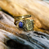 Bidita Stone Brass Ring-JEWELLERY / RINGS-Gopal Brass Man (IND)-Lapis Lazuli-The Outpost NZ