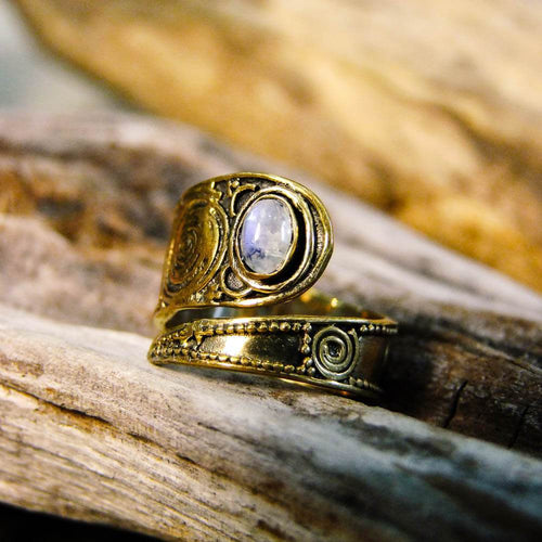 Bidita Stone Brass Ring-JEWELLERY / RINGS-Gopal Brass Man (IND)-Moonstone-The Outpost NZ