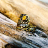 Bidita Stone Brass Ring-JEWELLERY / RINGS-Gopal Brass Man (IND)-Tigers Eye-The Outpost NZ