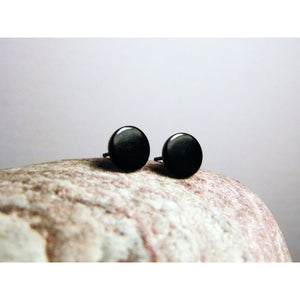 Black Stud Earrings-JEWELLERY / EARRINGS-Jeab and Ru (THA)-Solid Circle-The Outpost NZ