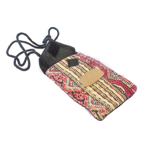 Block Print Mobile Pouch-ACCESSORIES / PURSES & WALLETS-BRIJWASI (IND)-Navy/Green-The Outpost NZ