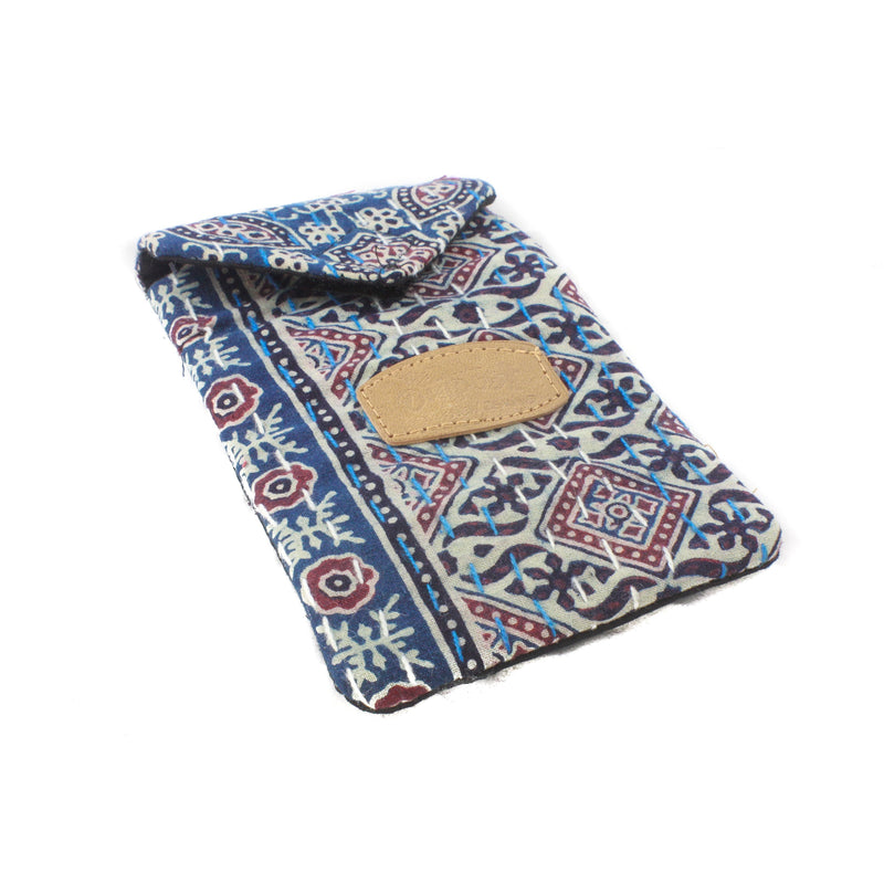 Block Print Mobile Pouch-ACCESSORIES / PURSES & WALLETS-BRIJWASI (IND)-Navy-The Outpost NZ