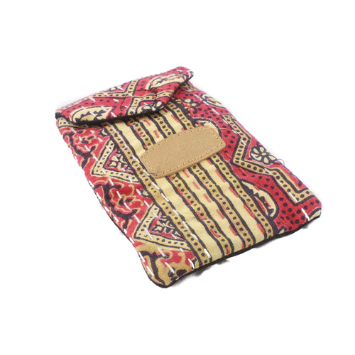 Block Print Mobile Pouch-ACCESSORIES / PURSES & WALLETS-BRIJWASI (IND)-Red-The Outpost NZ