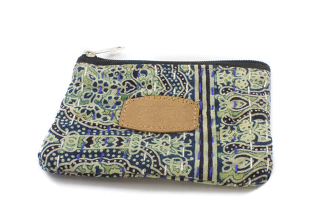 Block Print Pouches-ACCESSORIES / PURSES & WALLETS-BRIJWASI (IND)-Navy-Single Zip-Small-The Outpost NZ