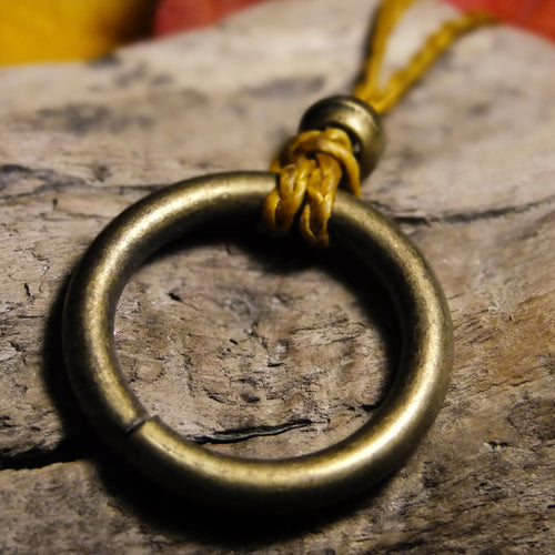 Brass ring necklace-JEWELLERY / NECKLACE & PENDANT-M Square Collection (THA)-Gold-The Outpost NZ