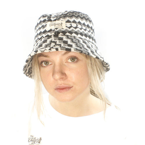 Bucket Hat-ACCESSORIES / HATS-Long Ma Lae (THA)-Black White Zig Zag-The Outpost NZ