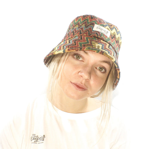 Bucket Hat-ACCESSORIES / HATS-Long Ma Lae (THA)-Colourful Zig Zag-The Outpost NZ
