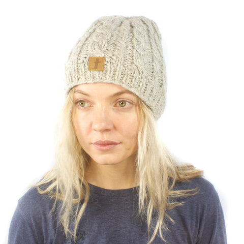 Cable Rugby Beanie-ACCESSORIES / BEANIES-Sweater & Pashmina House (NEP)-Beige-The Outpost NZ