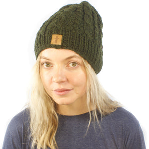 Cable Rugby Beanie-ACCESSORIES / BEANIES-Sweater & Pashmina House (NEP)-Green-The Outpost NZ