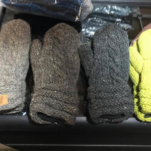 Cable Wool Mittens-ACCESSORIES / HANDWEAR-Sweater & Pashmina House (NEP)-Brown-The Outpost NZ