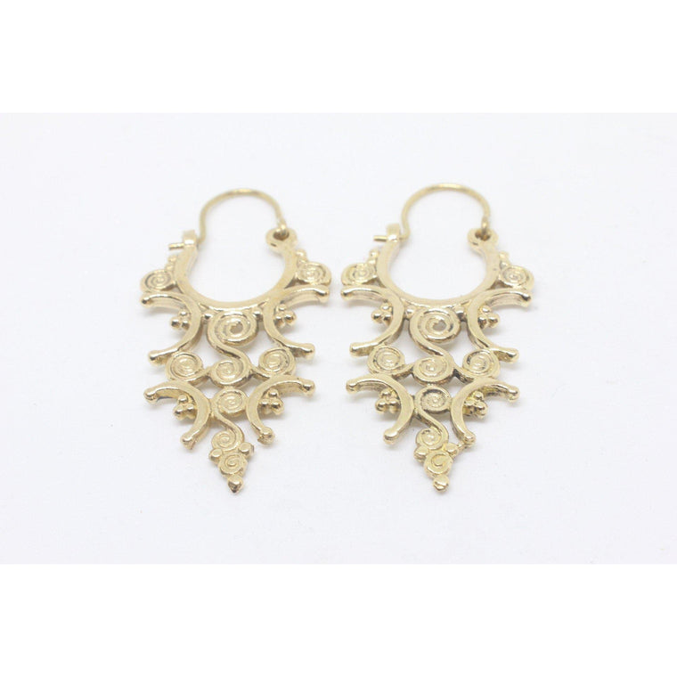 Camellia Brass Earrings
