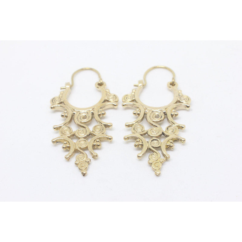 Camellia Brass Earrings-JEWELLERY / EARRINGS-Gopal Brass Man (IND)-The Outpost NZ