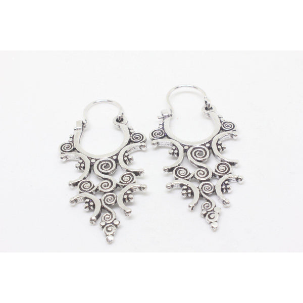 Camellia Silver Plated Earrings-JEWELLERY / EARRINGS-Gopal Brass Man (IND)-The Outpost NZ