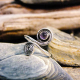 Carlotta Stone Spiral Silver Plated Ring - Mixed Stones-JEWELLERY / RINGS-Gopal Brass Man (IND)-The Outpost NZ