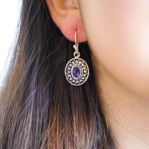 Chaiya Silver Plated Earrings-JEWELLERY / EARRINGS-Gopal Brass Man (IND)-Amethyst-The Outpost NZ