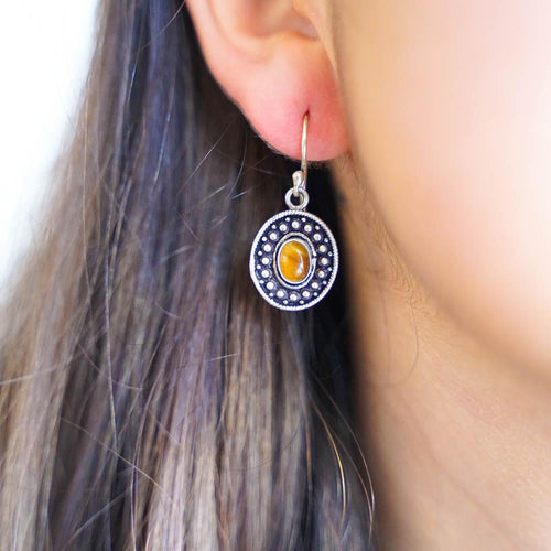 Chaiya Silver Plated Earrings-JEWELLERY / EARRINGS-Gopal Brass Man (IND)-Tigers Eye-The Outpost NZ