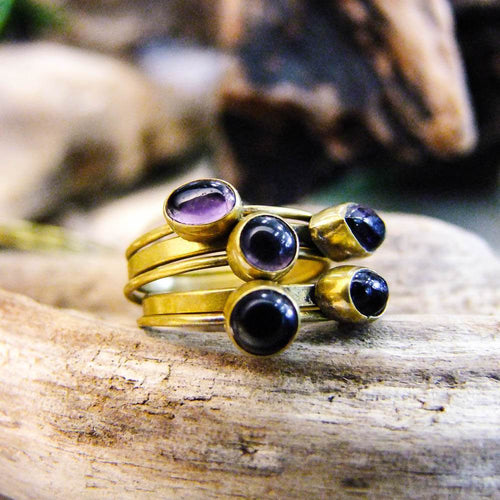Chakra Stacking Brass Ring-JEWELLERY / RINGS-Gopal Brass Man (IND)-Amethyst-The Outpost NZ
