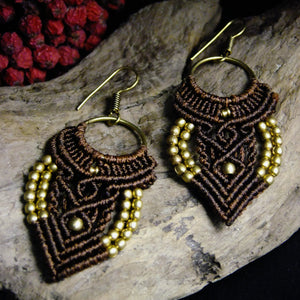 Chandelier Macrame Earrings-JEWELLERY / EARRINGS-Ganesh Macrame (IND)-Dark Brown-The Outpost NZ