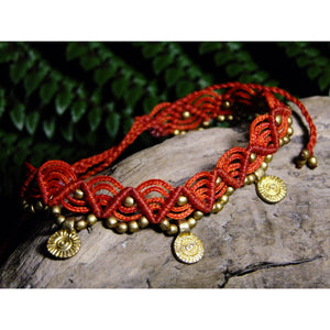 Charm Macrame Anklet-JEWELLERY / ANKLET-Ganesh Macrame (IND)-Red-The Outpost NZ